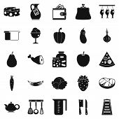 Meat delicacy icons set. Simple set of 25 meat delicacy vector icons for web isolated on white background poster