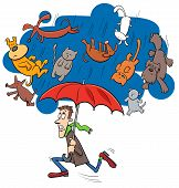 Cartoon Humorous Concept Illustration of Raining Cats and Dogs Saying or Proverb poster