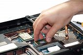 Laptop repair. The specialist conducts repairs laptop motherboard plans poster