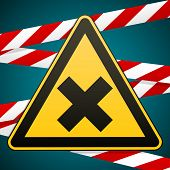 Safety sign. Caution - danger Harmful to health allergic irritant substances. Barrier tape. Vector illustration. poster