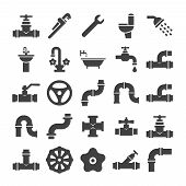 Sanitary engeneering, valve, pipe, plumbing service objects icons collection. Faucet and plumbing valve, pipe water and tube for drain. Vector illustration poster