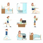 Woman daily routine. Daily life of young beautiful woman as waking up, working and relaxing. poster