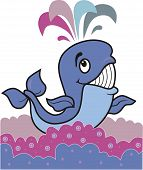 blue cheerful whale floating on multi-coloured waves poster