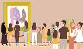 art gallery exhibition busy many people man woman children visitor looking for painting contemporary artist collection hanging on wall and sculpture vector poster