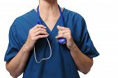 Doctor holding stethoscope isolated against a white background poster
