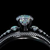 Black gold engagement ring with diamond gem. Luxury jewellery bijouterie with rhodium or ruthenium coating with gemstone of brilliant turquoise hue. Family ring. 3D rendering. poster