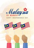 31 August - Malaysia Independence Day illustration of citizen with Malaysia flags. poster