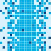 Seamless bathroom mosaic tiled background in blue tones poster