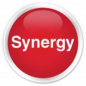 Synergy isolated on premium red round button abstract illustration poster
