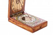 Early 18th Century Compass in Wooden Box on White Background. Replica poster