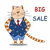 Colorful graphic illustration. Sale tag for children's shop poster