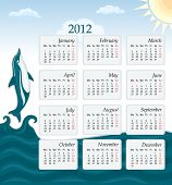 Calendar 2012 - UK version with jumping dolphin and blue ocean. Week starts Monday bank holidays included. Vector file saved as EPS AI8 all elements layered grouped. Simple linear gradient used in the sky no effects easy print. poster