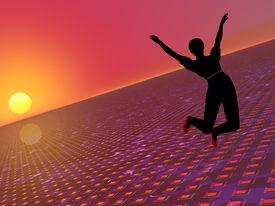 Woman Jumping In A Hi Tech World