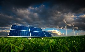 Renewable Energy Concept - Photovoltaics And Wind Turbines On A Grass Filed. 3D Illustration.
