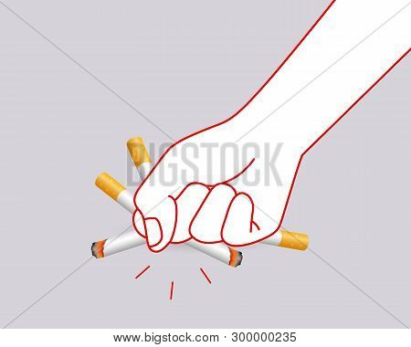 Human Hands Crushing Cigarette. Quitting Smoking Concept.  World No Tobacco Day. Illustration Isolat