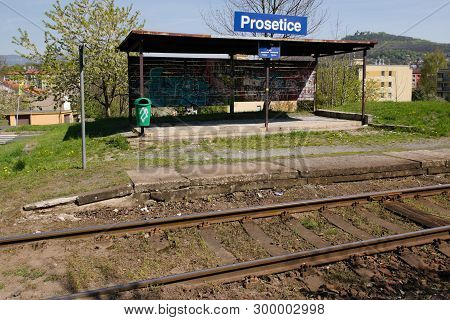 Prosetice, Czech Republic - April 20, 2019: Train Station Prosetice In Spring