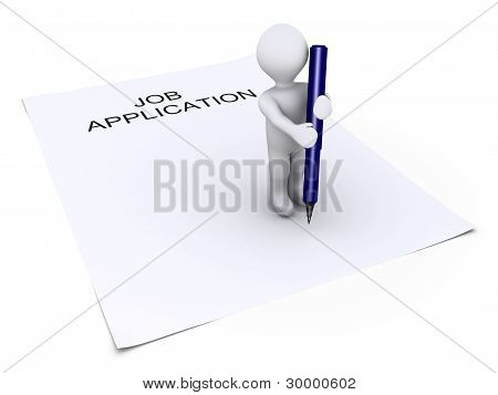 Person Holding A Pen Is On Job Application Paper