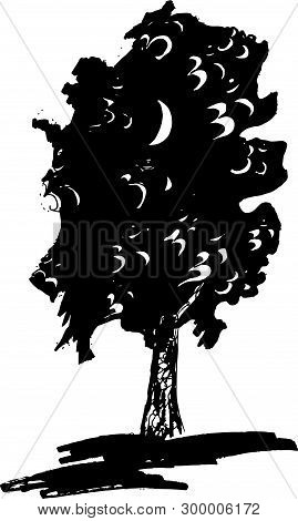 Black And White Illustration Of A Tree And Ohm In It.