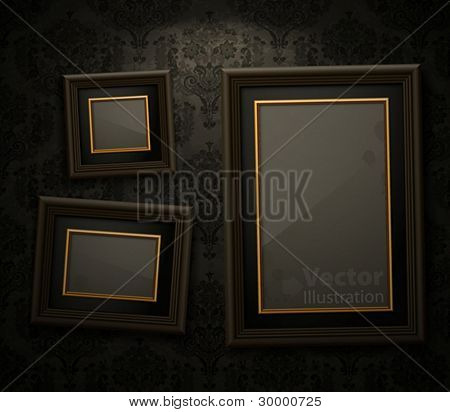 Wooden frames on the wall. Vintage background
