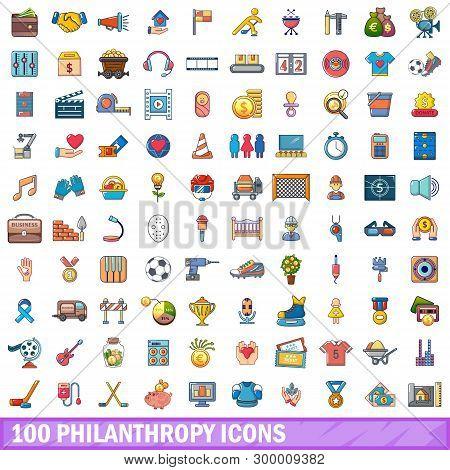 100 Philanthropy Icons Set. Cartoon Illustration Of 100 Philanthropy Icons Isolated On White Backgro