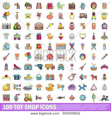 100 Toy Shop Icons Set. Cartoon Illustration Of 100 Toy Shop Icons Isolated On White Background