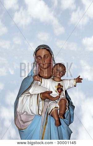 Statue Of The Virgin Mary Holding Jesus Christ
