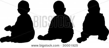 Three Silhouettes Of Seated Baby