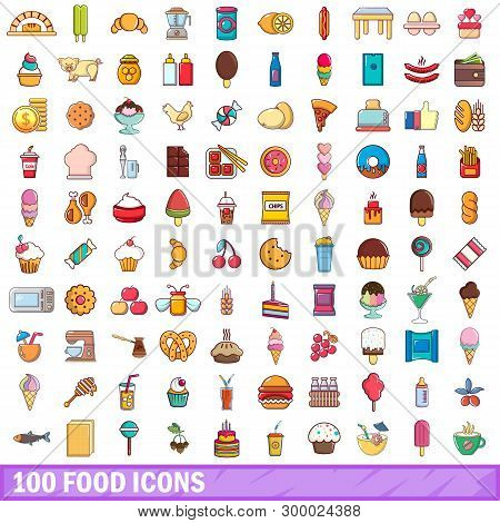 100 Food Icons Set. Cartoon Illustration Of 100 Food Icons Isolated On White Background