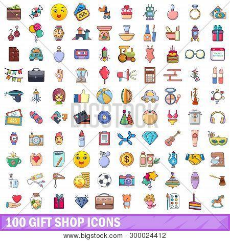 100 Gift Shop Icons Set. Cartoon Illustration Of 100 Gift Shop Icons Isolated On White Background