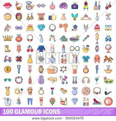 100 Glamour Icons Set. Cartoon Illustration Of 100 Glamour Icons Isolated On White Background