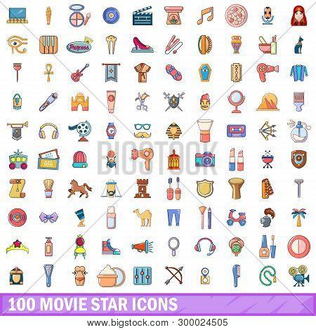 100 Movie Star Icons Set. Cartoon Illustration Of 100 Movie Star Icons Isolated On White Background