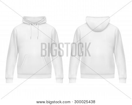 Realistic White Hoodie Or Hoody For Man. Men Sweatshirt With Long Sleeves And Drawstring, Muff Or Ka