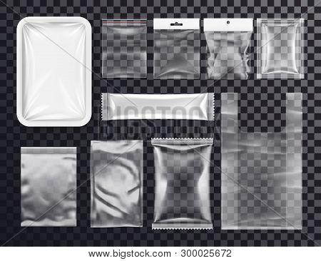 Realistic Plastic Pocket Bag Mockup. Sealed Transparent Polythene Packs For Food And Shop Goods. 3d