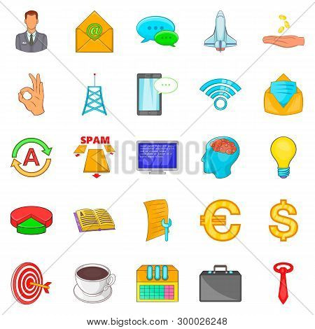 Coworking Icons Set. Cartoon Set Of 25 Coworking Icons For Web Isolated On White Background
