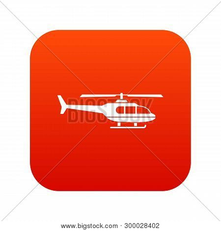 Military helicopter icon digital red for any design isolated on white illustration poster