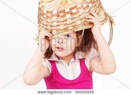 Beautiful Little Girl With A Basket