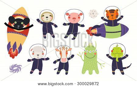 Big Set Of Cute Animal Astronauts In Space, With Planets, Stars. Isolated Objects On White Backgroun