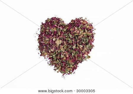 Heart from dried rose petals