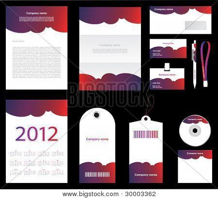 Stationery Set Design In Editable Vector Format