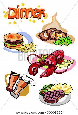 Dinner Menu Different Food