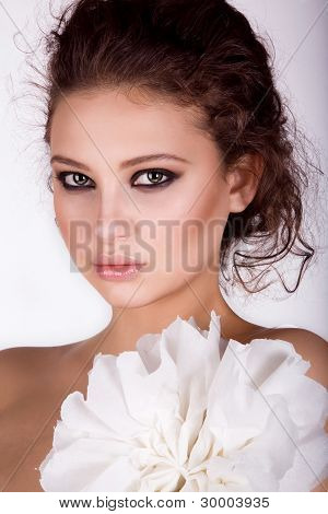 a beautiful young girl with a make-up