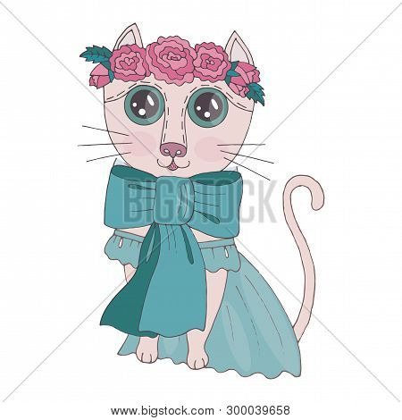poster of Cartoon colorful cat with corn with flower on the head for coloring book or pages. Sweet cat. Floral cat.
