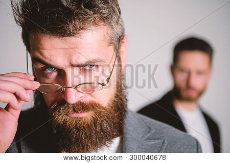Hipster Style And Fashion. Hipster Eyeglasses. Man Handsome Bearded Hipster Wear Eyeglasses. Eye Hea