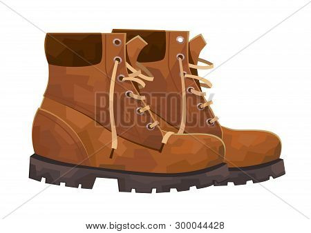 Hiking Boots Mountain Shoes Isolated On White Background Vector