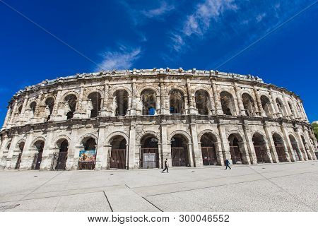 Nimes, France - April 29, 2019: Arena Of Nimes, Roman Amphitheater In Nimes, France. Arena Was Built