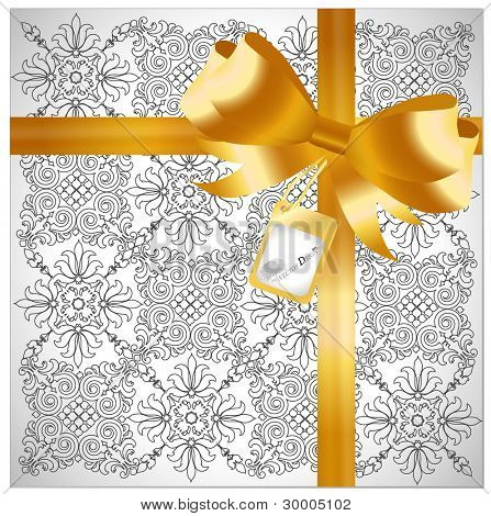 Gold ribbon with luxury background - Gift for a lover. Vector illustration.
