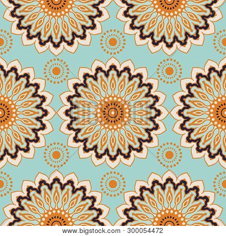 Seamless Pattern With Decorative Circles In The Style Of A Mandala.  Vector Illustration.04