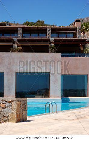 Swimming Pool At Modern Luxury Hotel, Crete, Greece