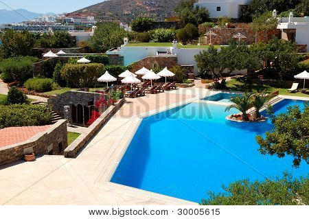 Recreation Area Of Luxury Hotel, Crete, Greece