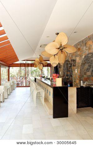 Greek Bar Interior At Luxury Hotel, Crete, Greece